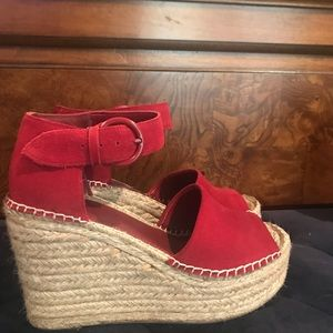 Marc  Fisher Alita wedge in red suede. Never worn.
